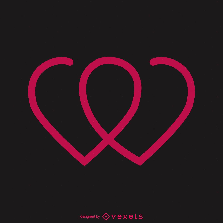 Plantilla de logotipo de dos corazones juntos