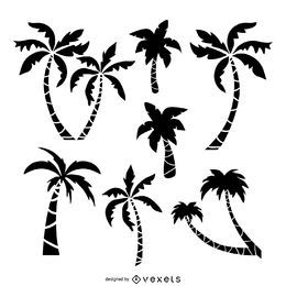 Palm trees drawing set