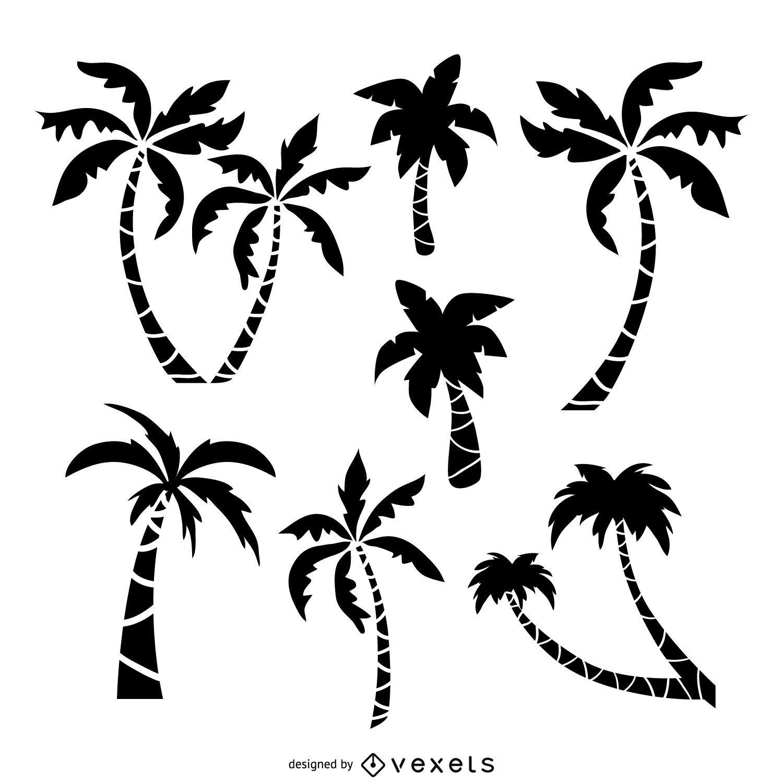Palm trees drawing set