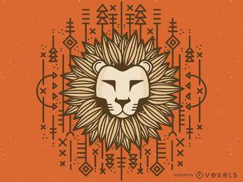 Desenho de leão tribal