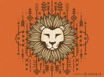 Tribal lion drawing