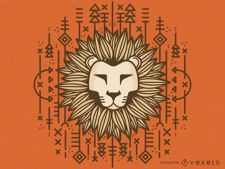 Desenho de le?o tribal