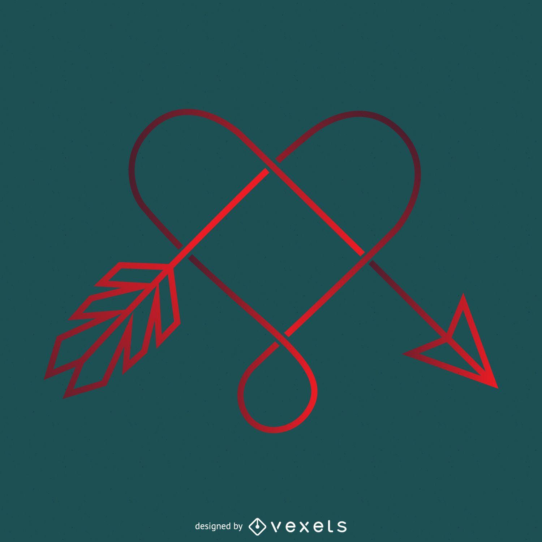Logotipo degradado de corazón y flecha