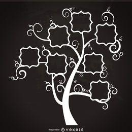 Plantilla de árbol genealógico con remolinos