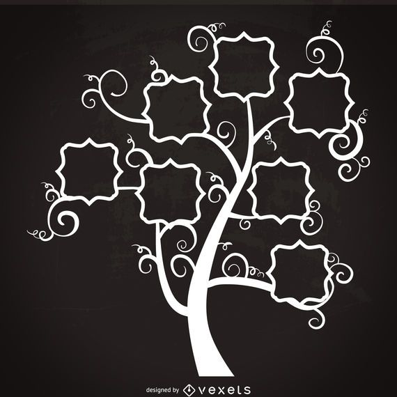 Family Tree With Swirls Template Vector Download