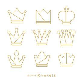 Conjunto de ilustración de contorno de corona