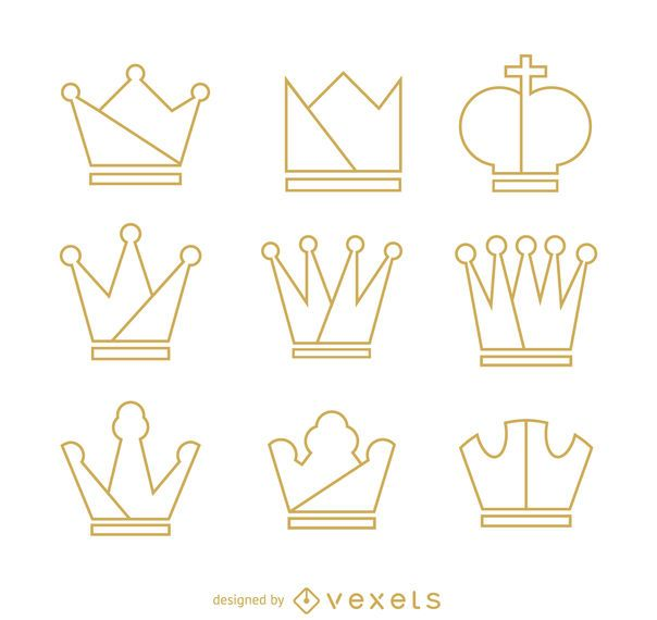 Crown outline illustration set