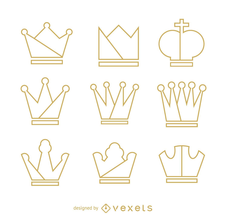 Conjunto de ilustração de contorno de coroa