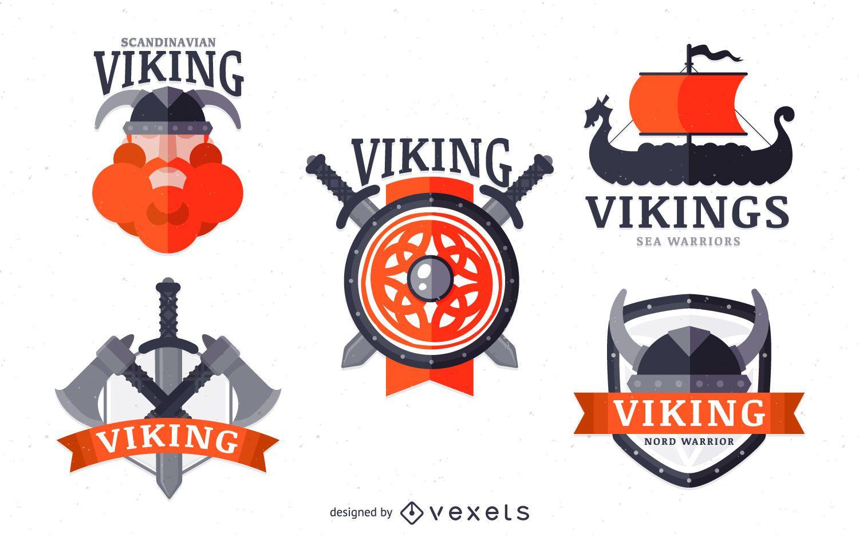 Vikings label badge set