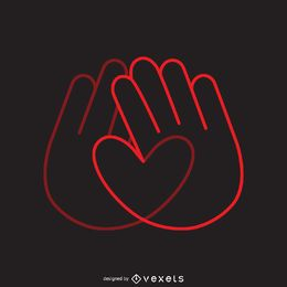 Heart hands logo template