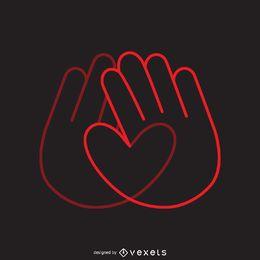 Modelo de logotipo de mãos de coração