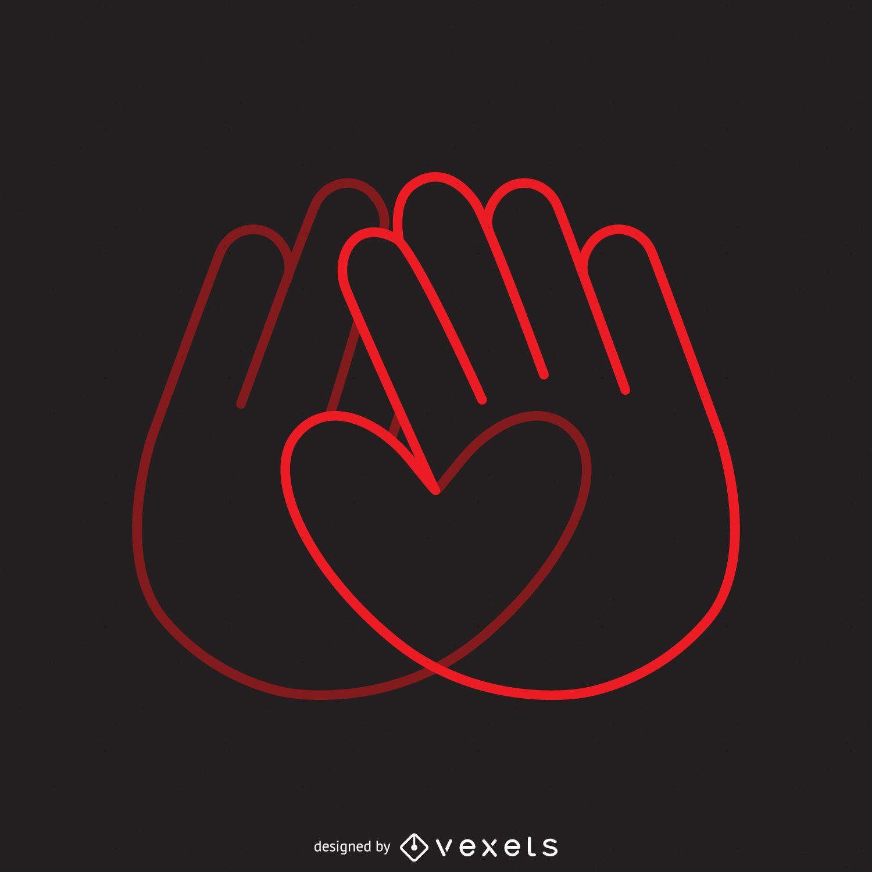 Heart hands logo template