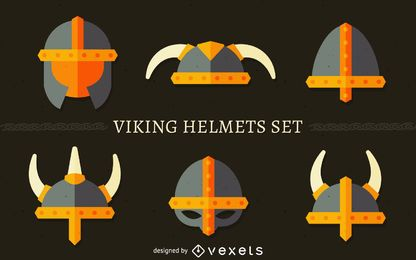 Conjunto de ilustração de capacete Viking
