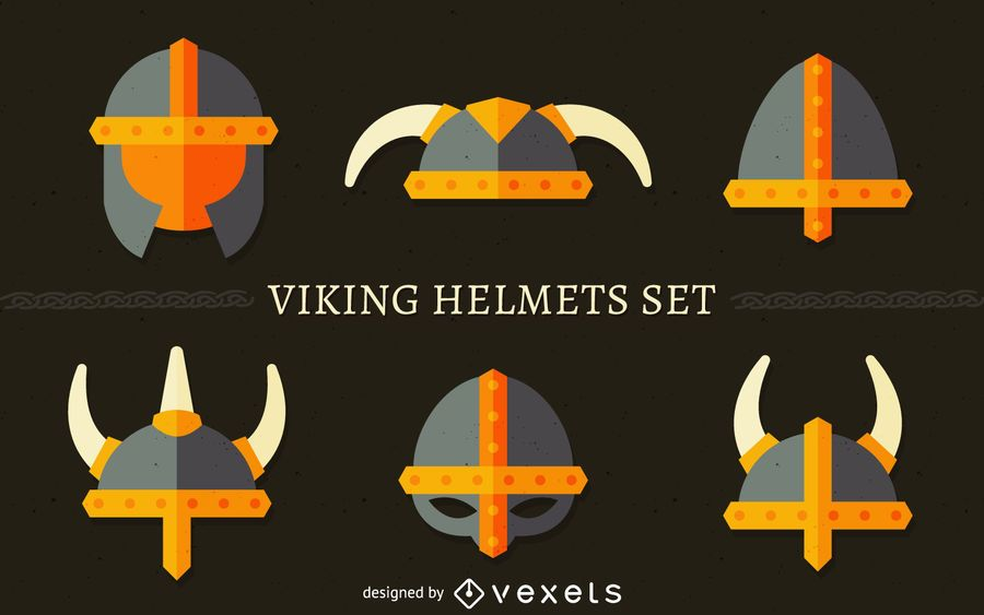 Viking helmet illustration set