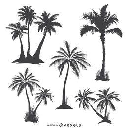 Silhuetas de palmeiras monocromáticas