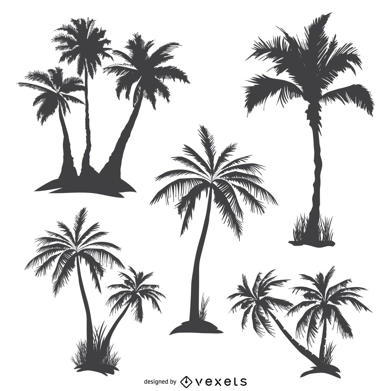 Siluetas de palmeras monocromas