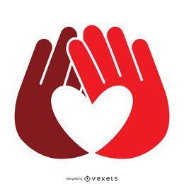 Modelo de logotipo de rótulo de mãos de coração