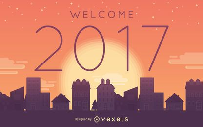Bienvenido cartel de la puesta del sol 2017