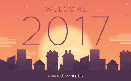 Cartaz do sol de boas-vindas de 2017