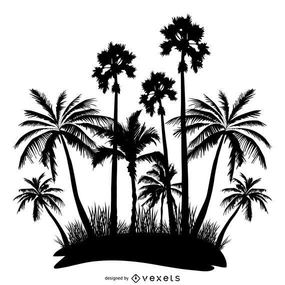 Diseño de siluetas de palmeras.