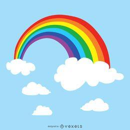 Ilustración del arco iris en el cielo