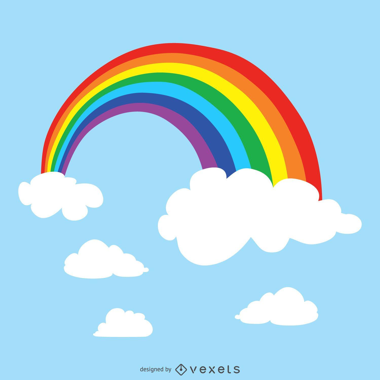 Arco iris en la ilustración del cielo