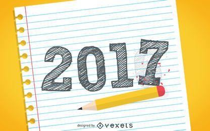Dibujado a mano signo 2017