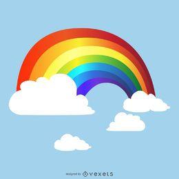 Gradiente del arco iris en el cielo de dibujo