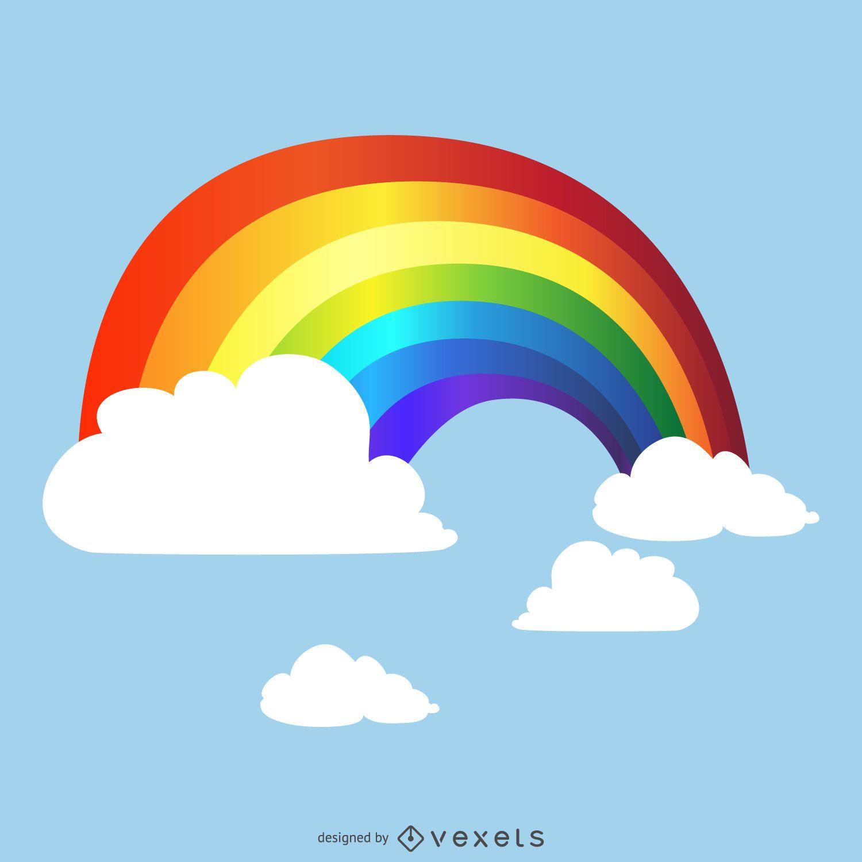 Arco iris degradado en dibujo de cielo