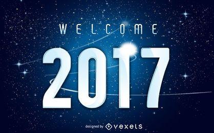Universo boas-vindas a 2017 sinal