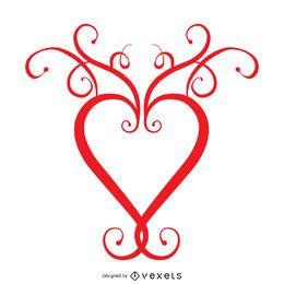 Coração com modelo de logotipo de redemoinhos