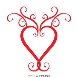 Heart with swirls logo template