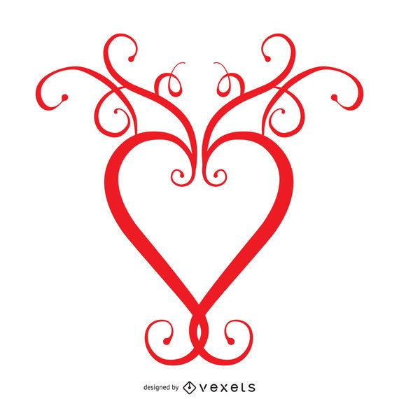 Heart with swirls logo template - Vector download