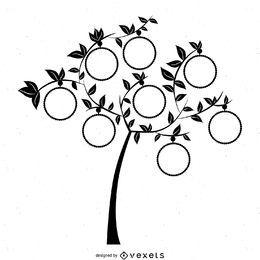 Plantilla de árbol genealógico con marcos