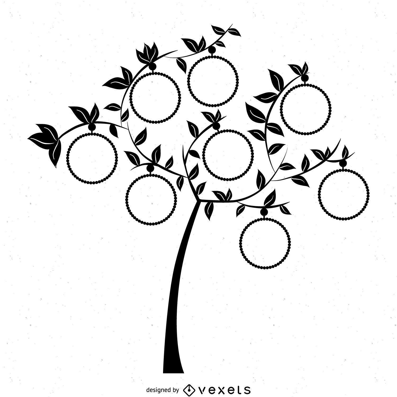 Plantilla del árbol de la familia con marcos - Descargar vector
