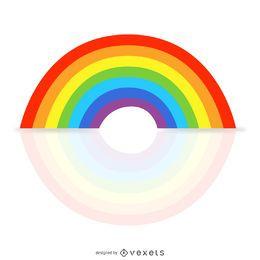 Ilustración simple del arco iris con la reflexión
