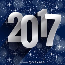 Silver 2017 greeting sign