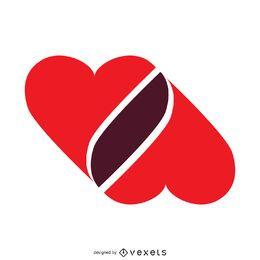 corações juntados modelo de logotipo
