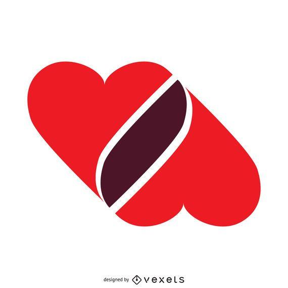 Modelo de logotipo de corações unidos