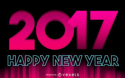 Pink 2017 new year sign