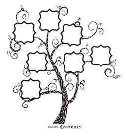 Árvore genealógica com desenho de redemoinhos