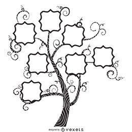 Family tree with swirls design