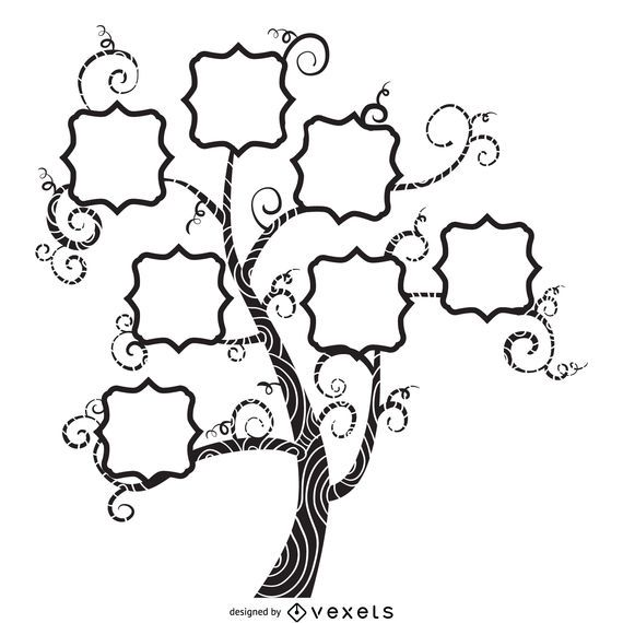 Family tree with swirls design