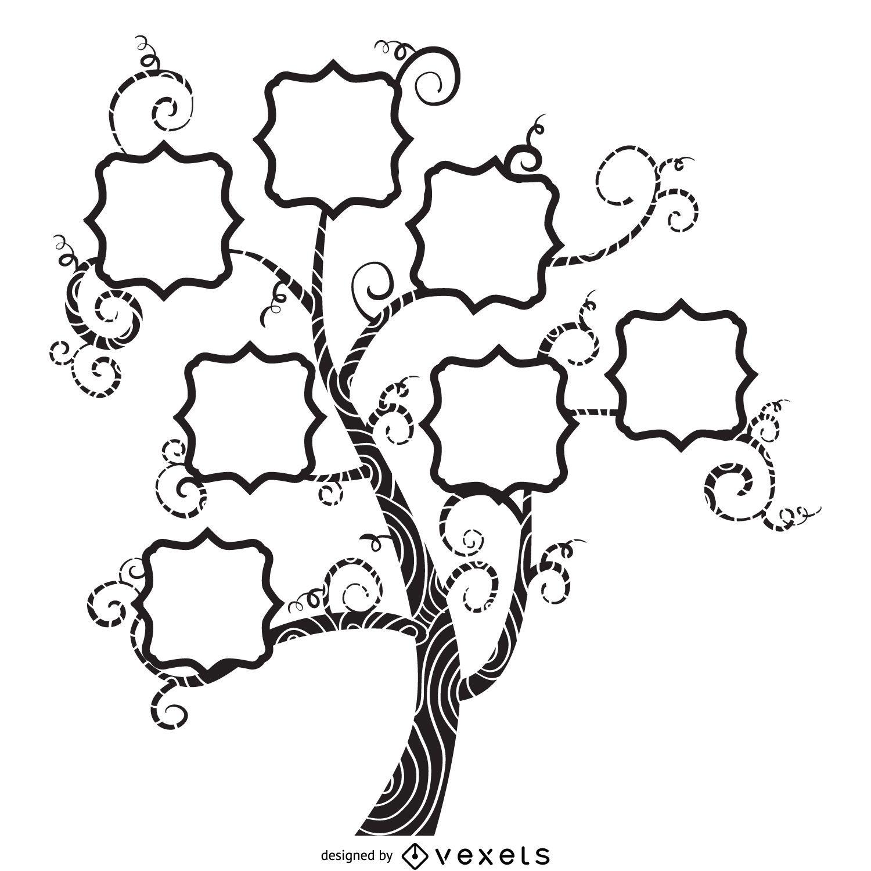 Plantilla maqueta árbol de la vendimia con las hojas - Descargar vector