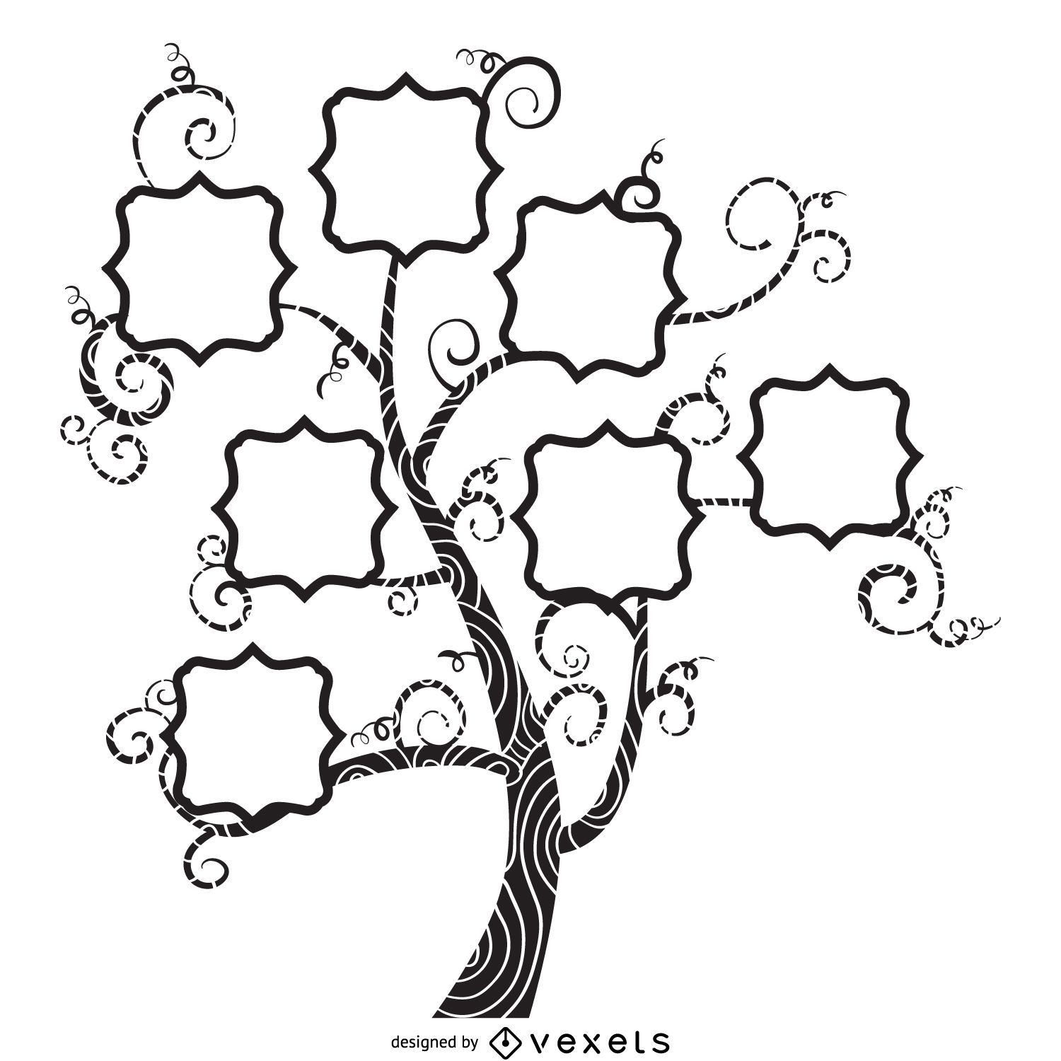 Family tree with swirls mockup - Vector download