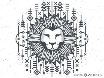 Ilustração monocromática de leão tribal