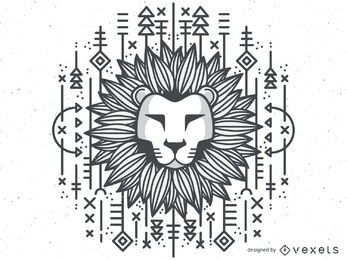 Monochrome tribal lion illustration