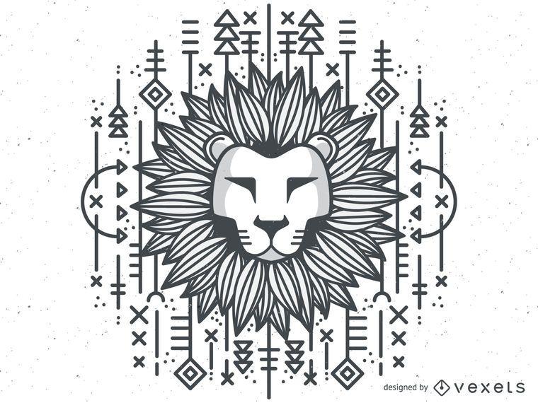 Monochrome tribal lion illustration