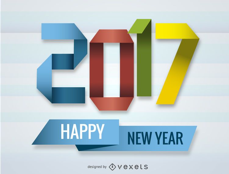 2017 sinal de origami de ano novo