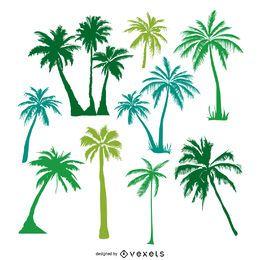 Silhuetas de árvores de palma verde